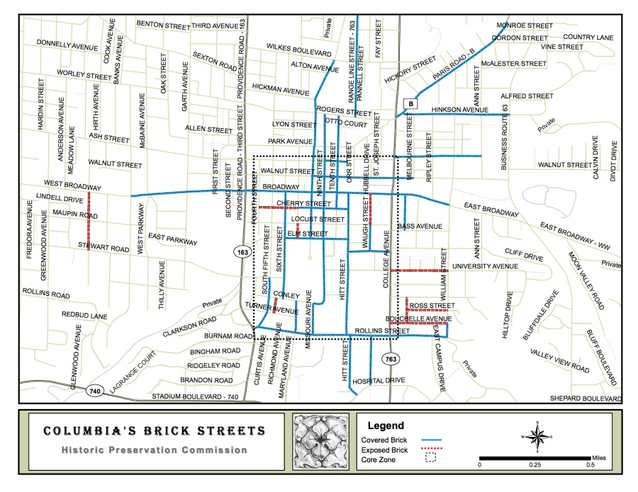 Map showing brick streets, covered and uncovered and the core area of concern. Historic Preservation Commission map used with permission.