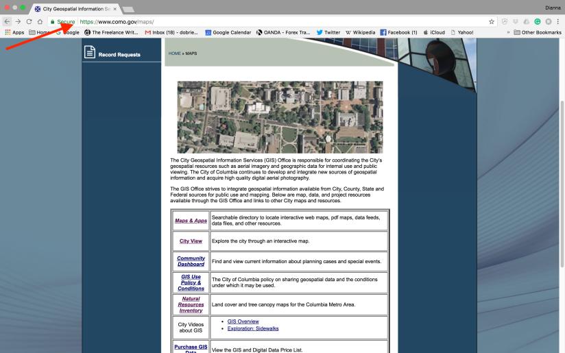 2018 Screenshot of Como.gov/maps/