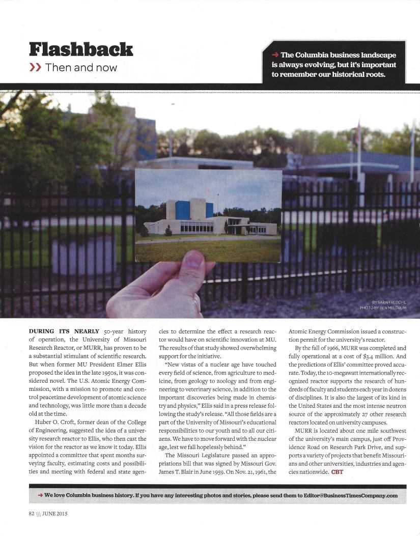 Flashback, University of Missouri Research Reactor, or MURR, by Sarah Redohl, photos by Ben Meldrum, June 2015. Used with permission from the Columbia Business Times.