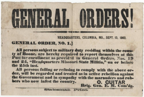 Government Document General Order dated Sept. 15, 1862, requiring people to report for military duty.